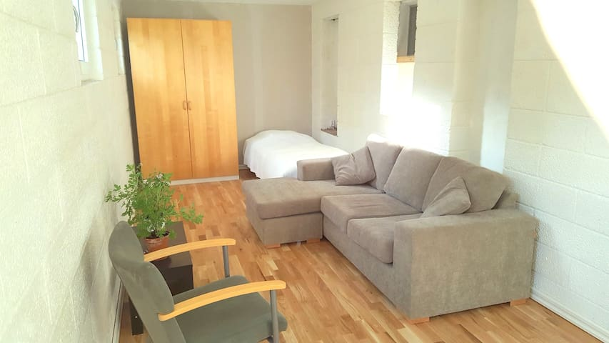 Room 1. 19 sqm. Photo to the right. New oak parquet flooring with under floor heating.