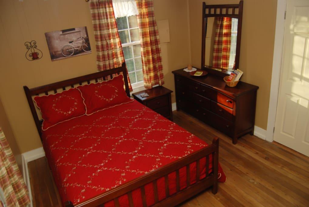 Master bedroom with new queen bed.