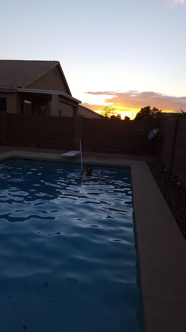 Beautiful sunset and pool cleaner. The water is warm, clean and crisp! Perfect for nearly every morning/evening/day in AZ.