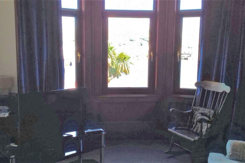 living room bay window overlooking Campbeltown Loch
