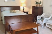 """Master Bedroom #2 is also 12""""x17"""".  It has a Queen-size bed, a Twin bed, a luggage table and dresser."""