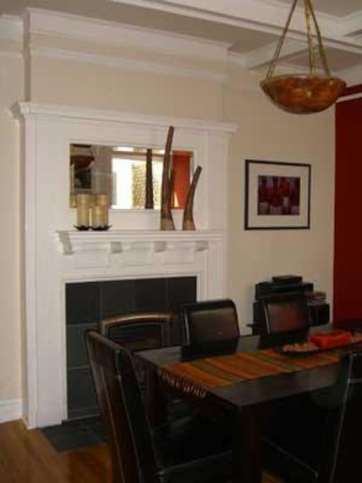 Dining room with fireplace & Edwardian hearth & mirror