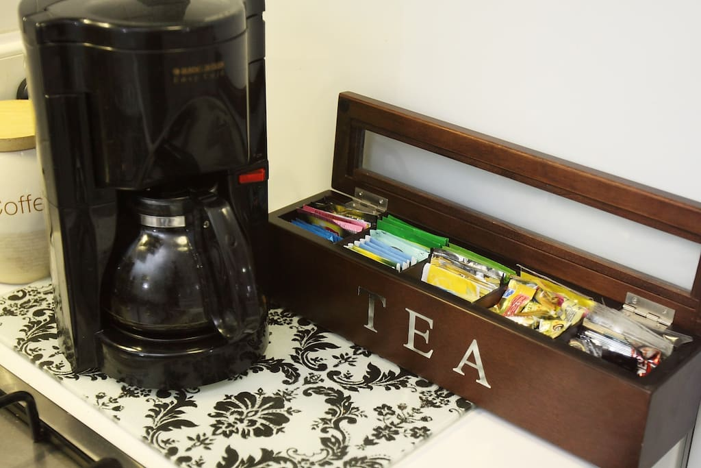 24/7 Free Coffee and Tea offered throughout the day.  LOTS OF CHOICES!