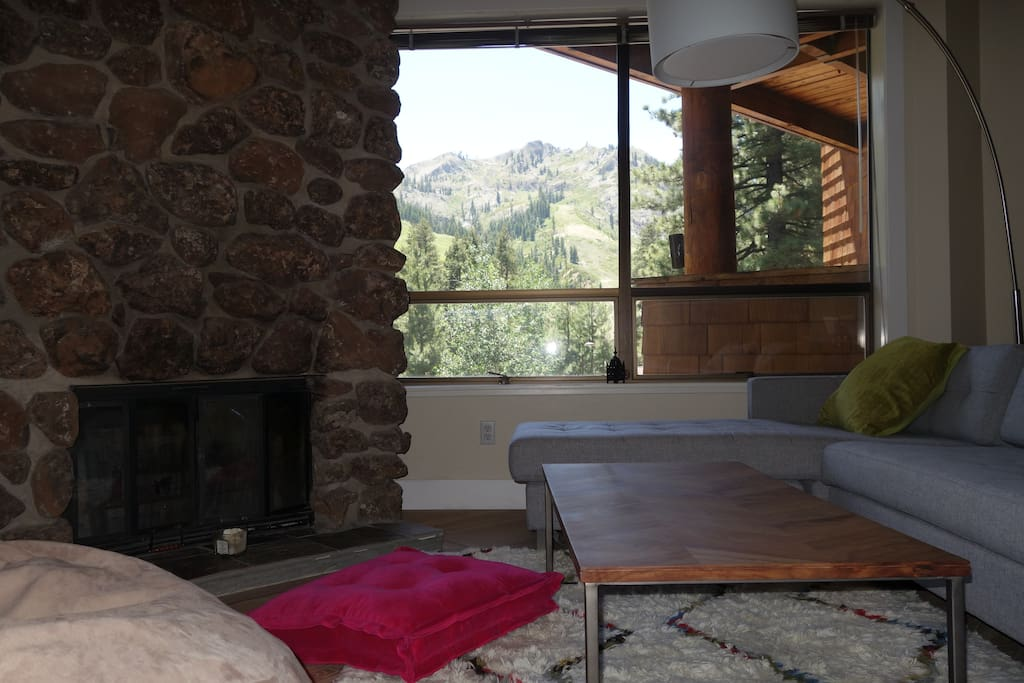 Huge views of KT-22 and Squaw Valley Ski Resort from the comfortable living room