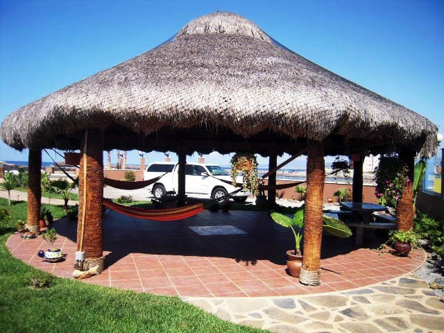 Relax listening to the waves Under our magnificent palapa with hammocks,mature palm trees and large grassy yard.