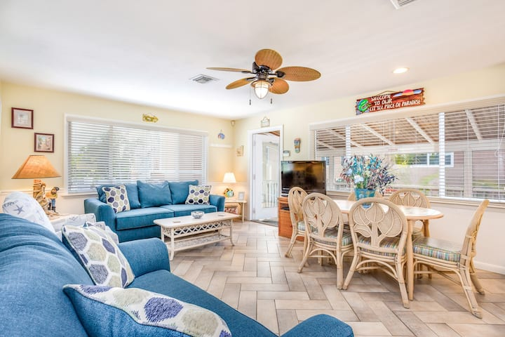 Oceanfront home w/ screened-in porch, only steps from the beach - dog-friendly