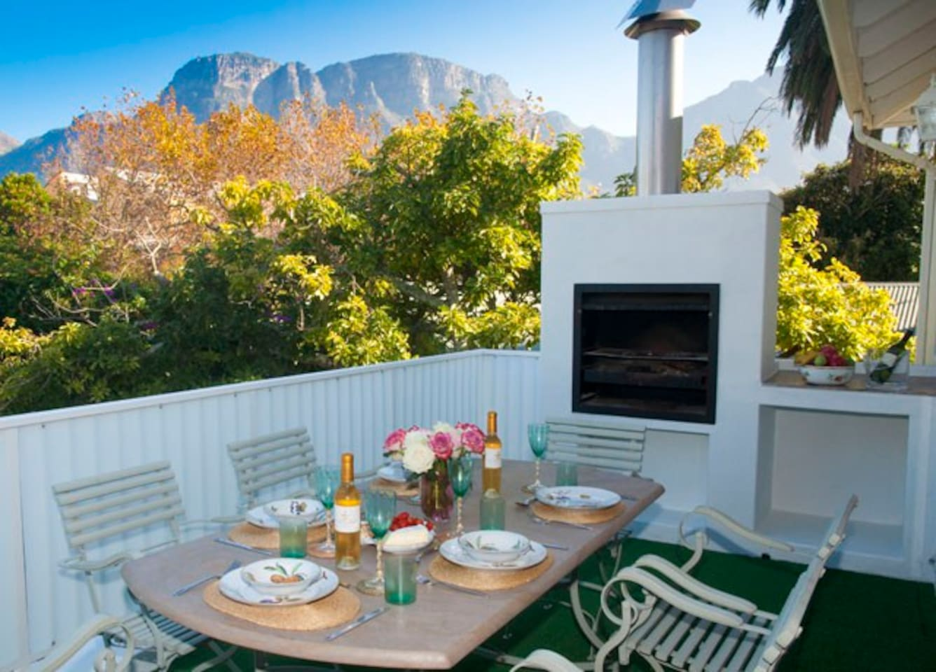 Private patio with barbeque and lovely views of the mountains