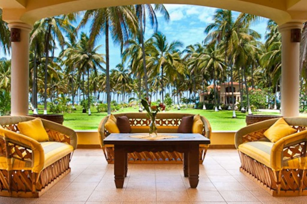 Looking out over our covered patio into the palms.