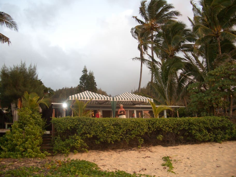 Secluded beachfront house with large deck
