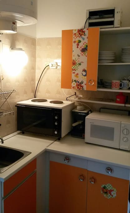 Fully equipped kitchen with microwave