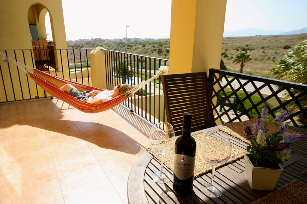 Good size balcony with hammock for relaxation