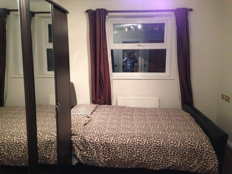 Bedroom with a leather frame n