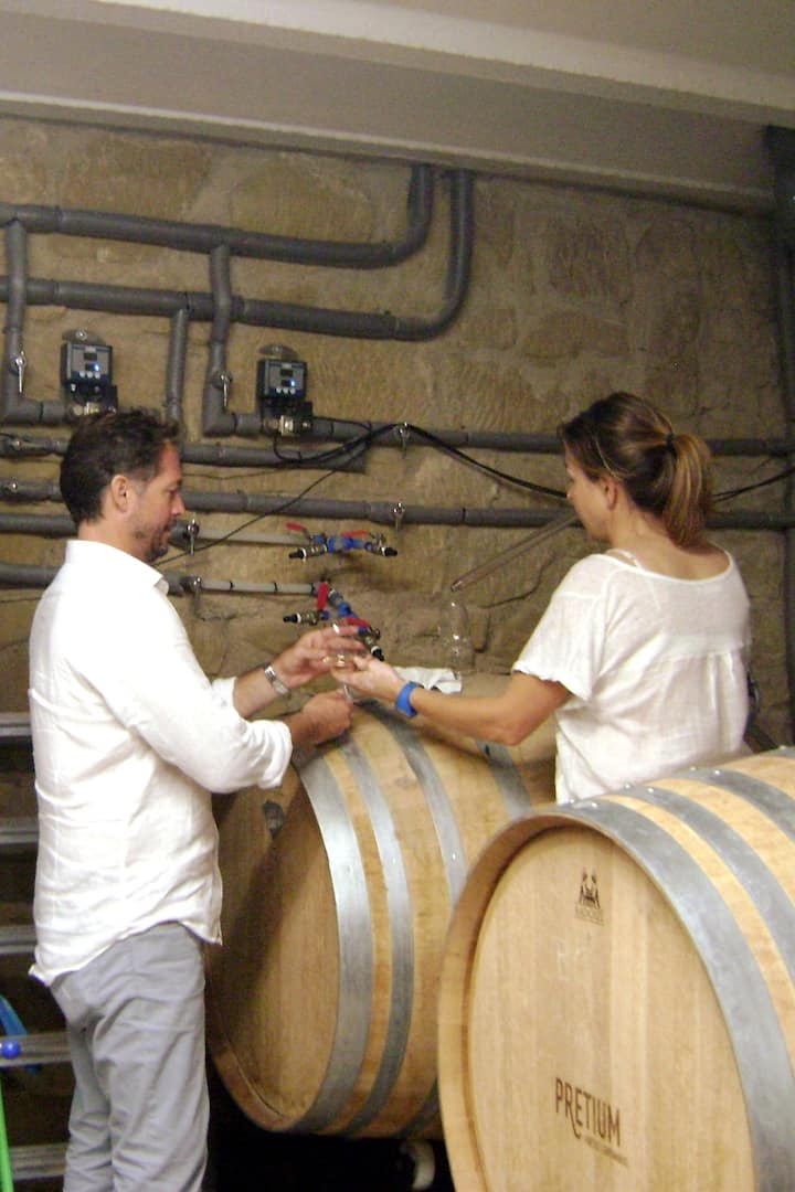 Wine tasting from the barrels