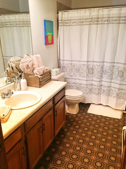 Private bath with plush towels, shampoo, soap & a blow dryer.