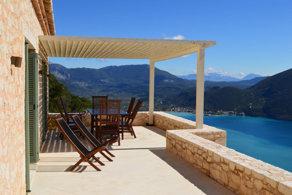 The beautiful balcony facing vassiliki village and blue sea views