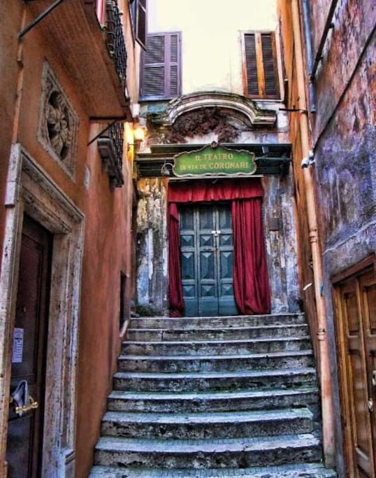 Ancient theater of 1400, one of The most beautiful street in The heart of Rome.