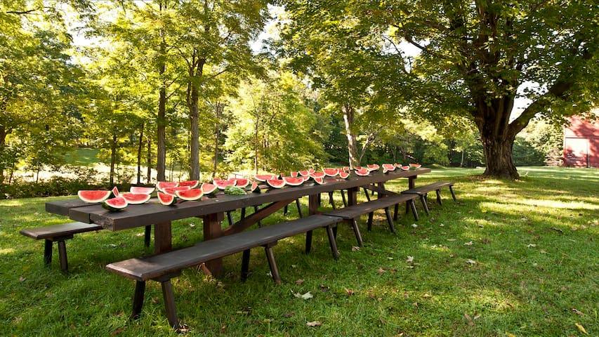 Banquet table overlooking creek