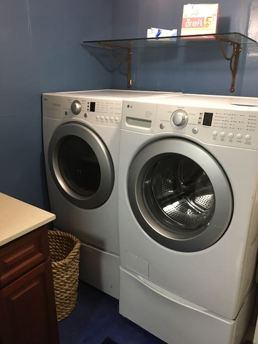 LG front-loading Washer and Dryer (laundry soap is provided for you).