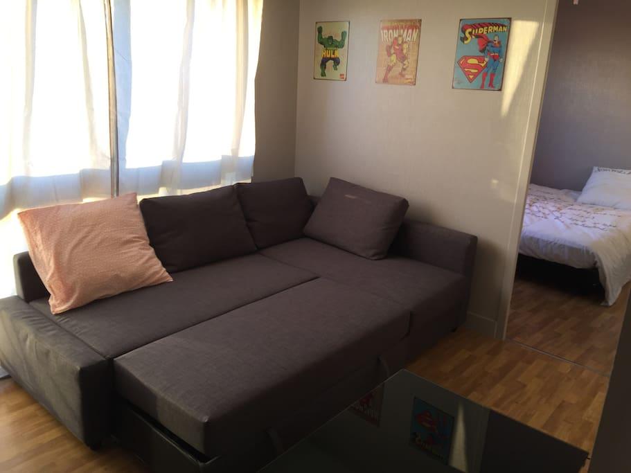 Le canapé se transforme en lit 2 places