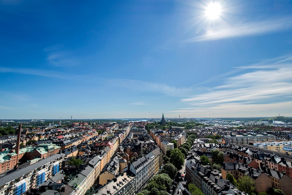 The stunning view over the rooftops of central Stockholm against a backdrop of the archipelago.