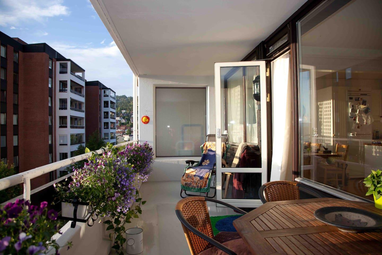 Balcony, view to Holmenkollen.