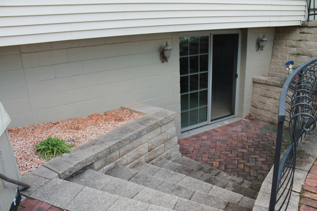 Sliding door entrance to walk-out basement bedroom and living room (can be your own private entrance/exit).