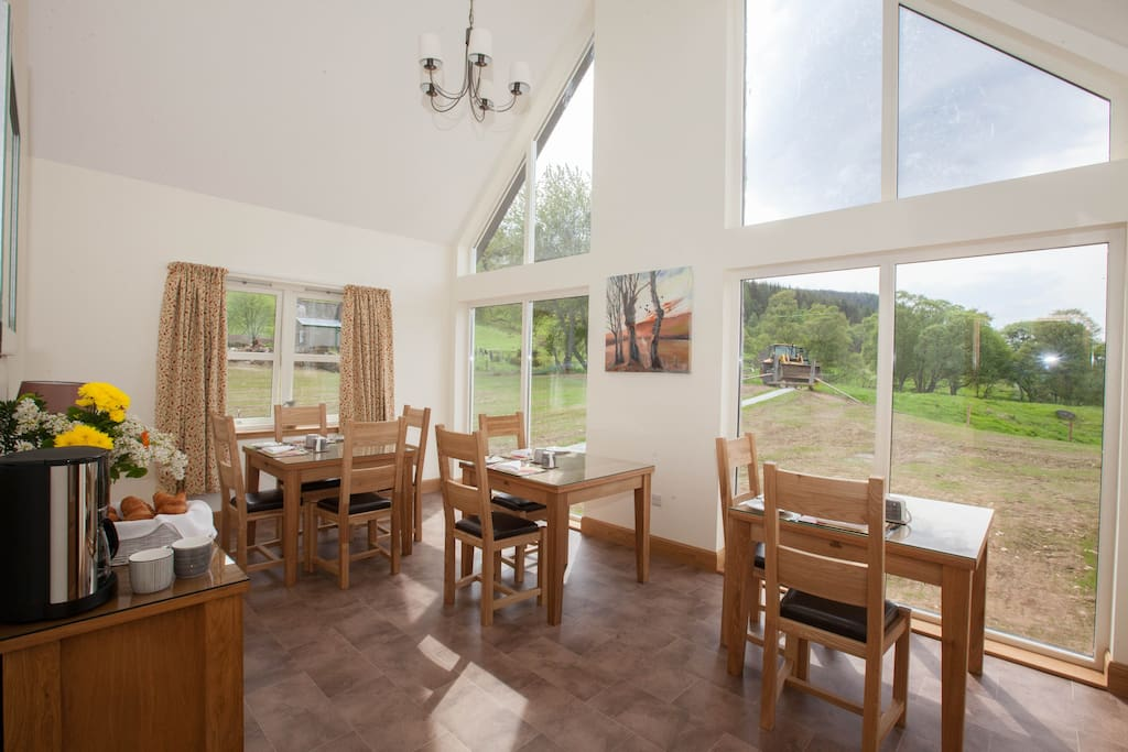 The spacious dining room with lovely views