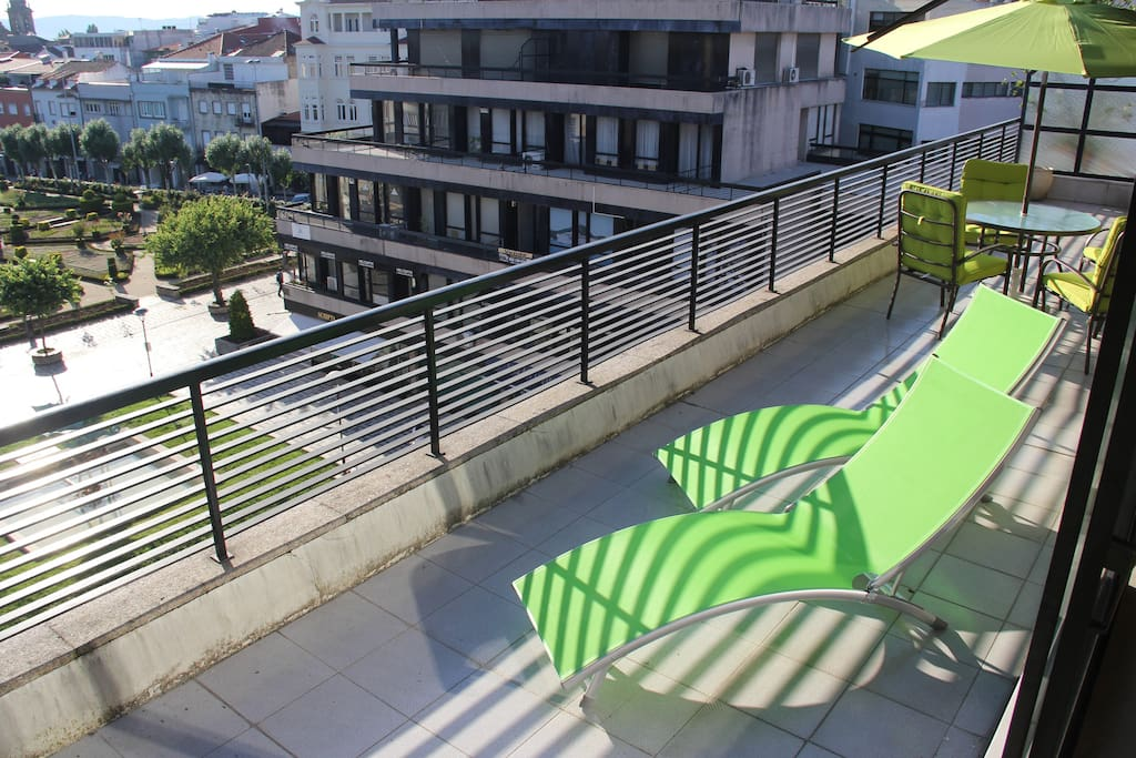 Huge sunny private terrace. We can enjoy the sunset all year