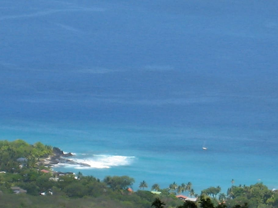 Part of the coastline panorama overlooking the swimming lagoon.