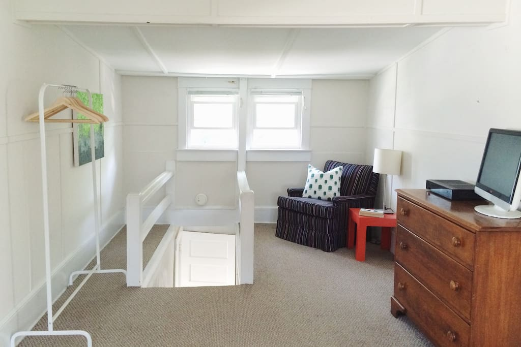 We have a dressing area with plenty of storage. We also have WIFI and cable TV.