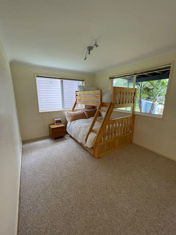 Third bedroom with double and single (bunk bed) downstairs