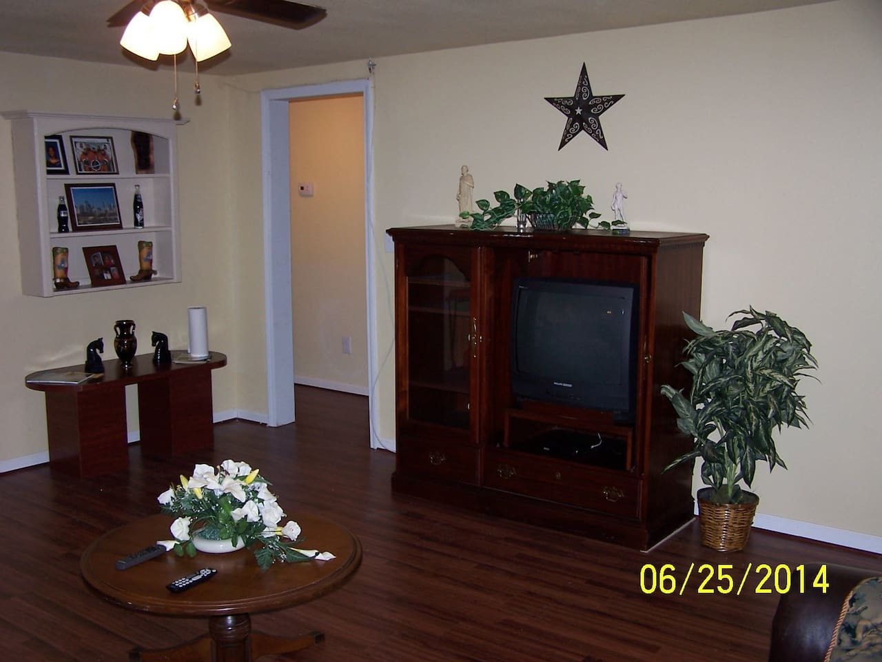 Living Room with Large  TV and Stereo System