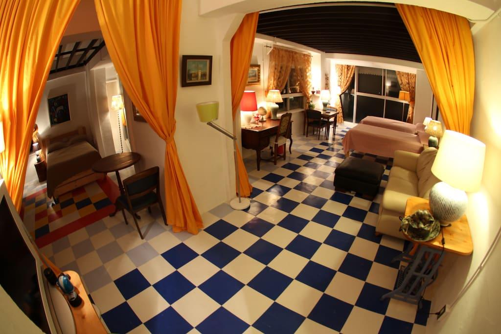 2つのお部屋の中心から撮影