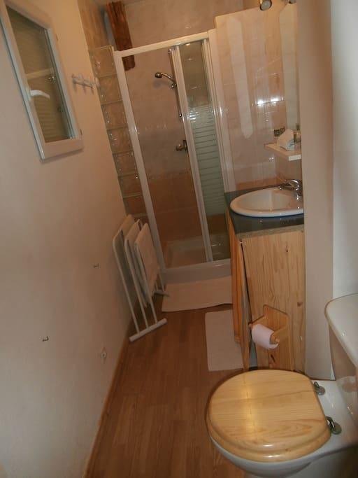 Salle d'eau privative avec douche, lavabo et toilettes
