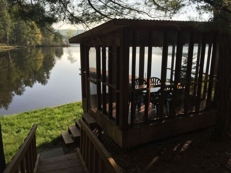 Dining enclosure by the water.
