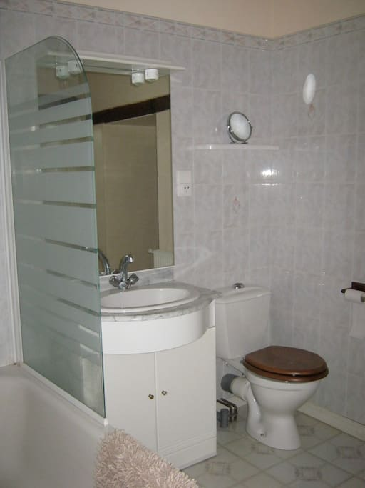 full size bath with shower over. large bathroom.