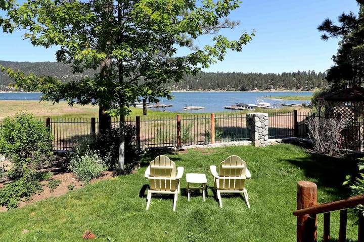 Lakeside living lakefront log cabin views dock for Big bear cabins lakefront