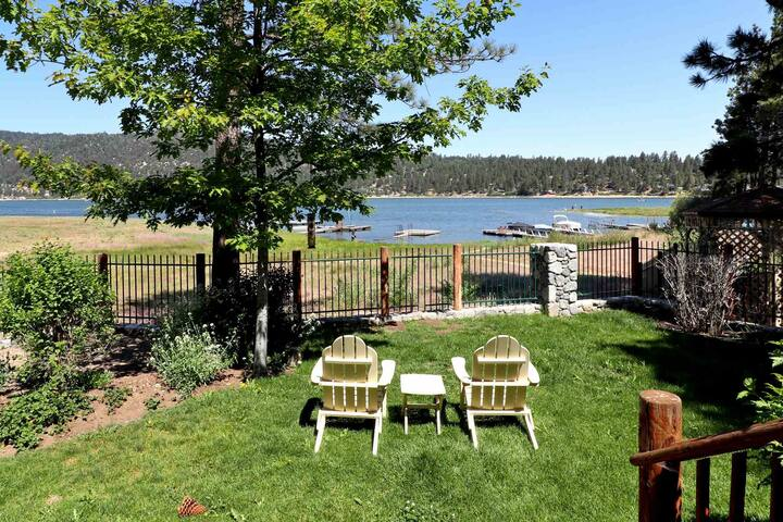 Lakeside living lakefront log cabin views dock Big bear lakefront cabins for rent