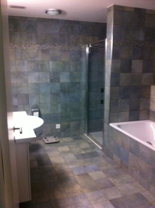 Large bathroom features both a tub and shower.