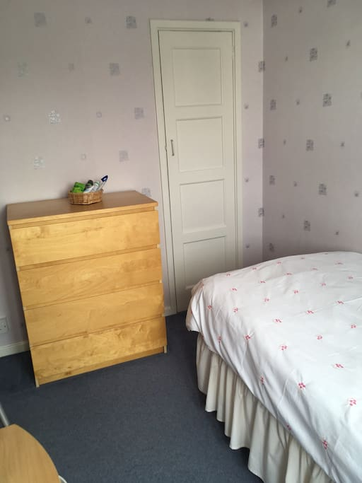 Built in wardrobe and chest of drawers, good storage space for long stay guests.