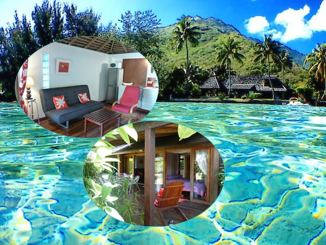Polynesian cottage 1-4 p. w/ beach & lagoon access - Maharepa