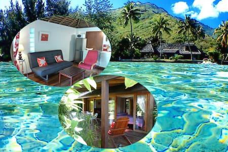 Polynesian cottage 1-4 p. w/ beach & lagoon access - Maharepa - 小平房