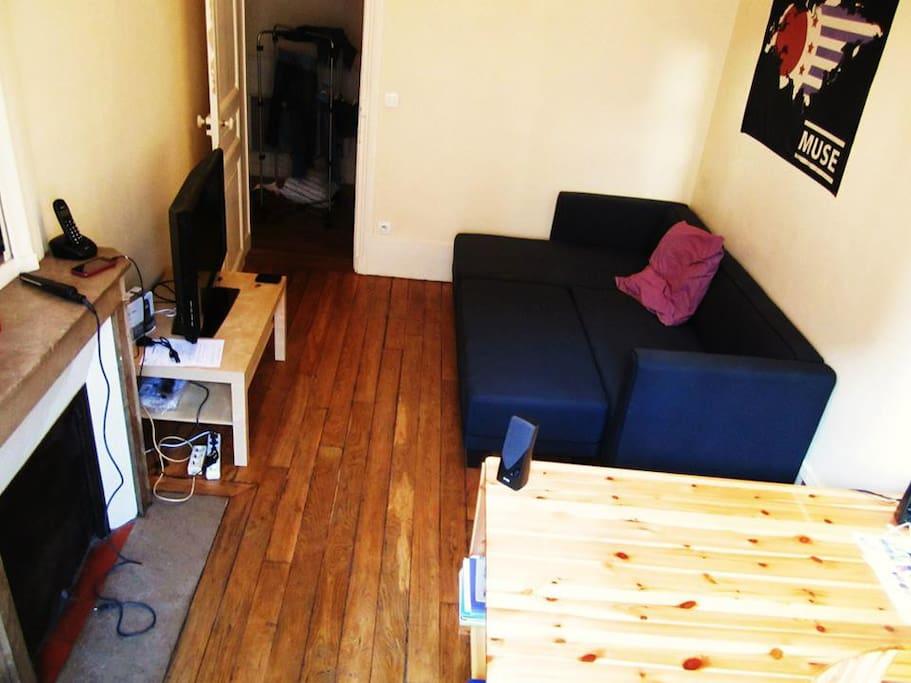 séjour avec bureau, canapé pouvant servir de lit à deux personnes et rangements.
