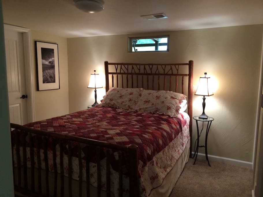 Full closet. Comfortable queen size bed