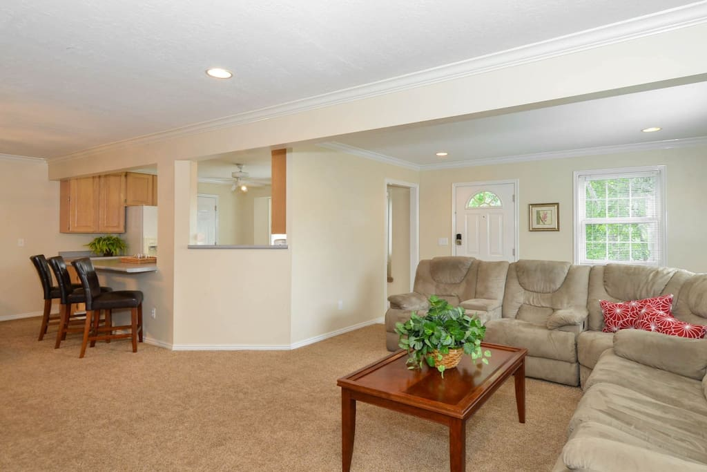 Large open family room in upper apartment