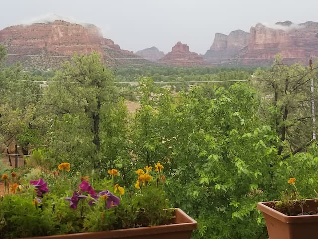 Spring flowers on deck overlooking view of magical red rocks!