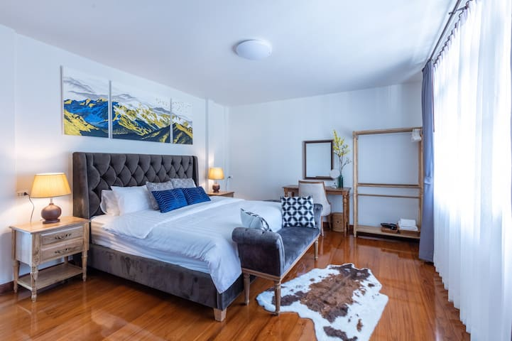 Master bed room, King-size bed, Comfy Firm & Soft Mattress, en-suit bathroom, Private Balcony with Garden View