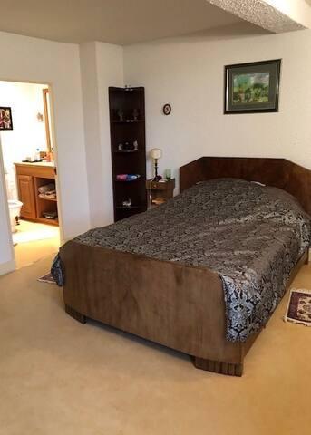 Chambre 3 , lit 160 cm avec sa salle de douche et toilettes attenants, plein sud