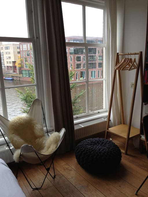 lovely Muji wardrobe and black Urchin pouf Christien Meindertsma