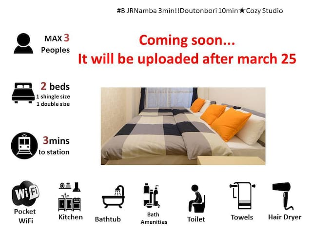 F#B JRNamba 3min close to Doutonbori★Cozy Stud - Naniwa Ward, Osaka
